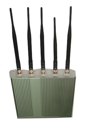 Wholesale 5 Antenna Cell Phone jammer+ Remote Control (3G, GSM, CDMA, DCS)