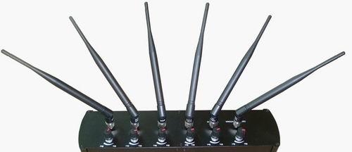 Gps jammer for hidden gps , High Quality Desktop 6 Antenna Cell Phone GPS WiFi Signal Jammer